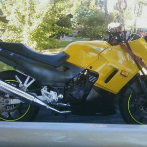 My Ninja 250EX hitching a ride to the house.