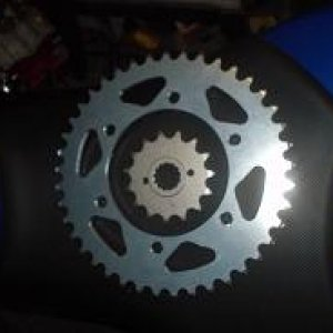 15T front sprocket and a 41T rear sprocket